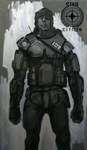 Skizze eines UEE Soldaten