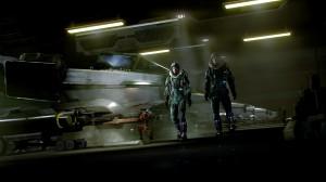 UEE Piloten im Hangar vor einer F7A Hornet