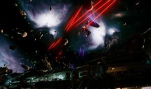 Szene eines Weltraumgefechts