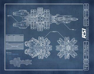 Blaupause der ersten Version des Raumschiffes Orion
