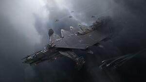 DRAK Kraken Blick von oben auf die Backbordseite des Schiffes mit Jägerbegleitung.jpg