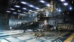 DRAK Kraken Hangarbucht 2 mit Buccaneer bei der Wartung.jpg
