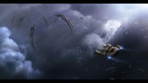 DRAK Vulture im Flug über Wrackteilen.jpg