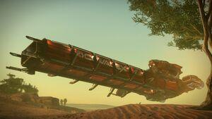 DRAK Caterpillar landend in Wüste.jpg