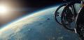Eine Raumstation über dem Planeten Leir II