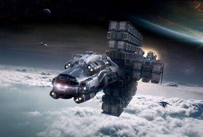 MISC Hull E im Flug vorne mit Gladius Begleitschutz.jpg